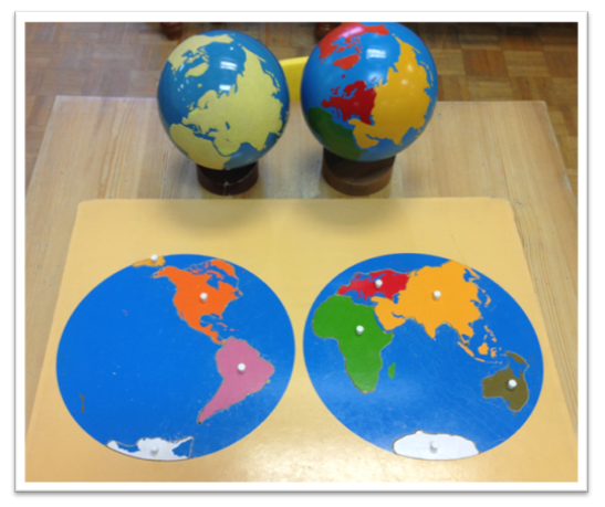 Odyssey montessori school curriculum spotlight geography the sandpaper globe employs the childs sense of touch to differentiate and introduce the concept that the earth is made up of land and water gumiabroncs Images