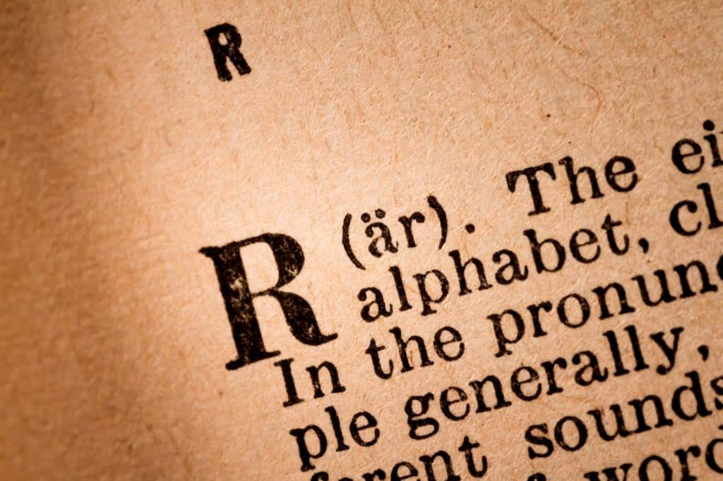 Close-up of a R, the 18th Letter of the Latin Alphabet